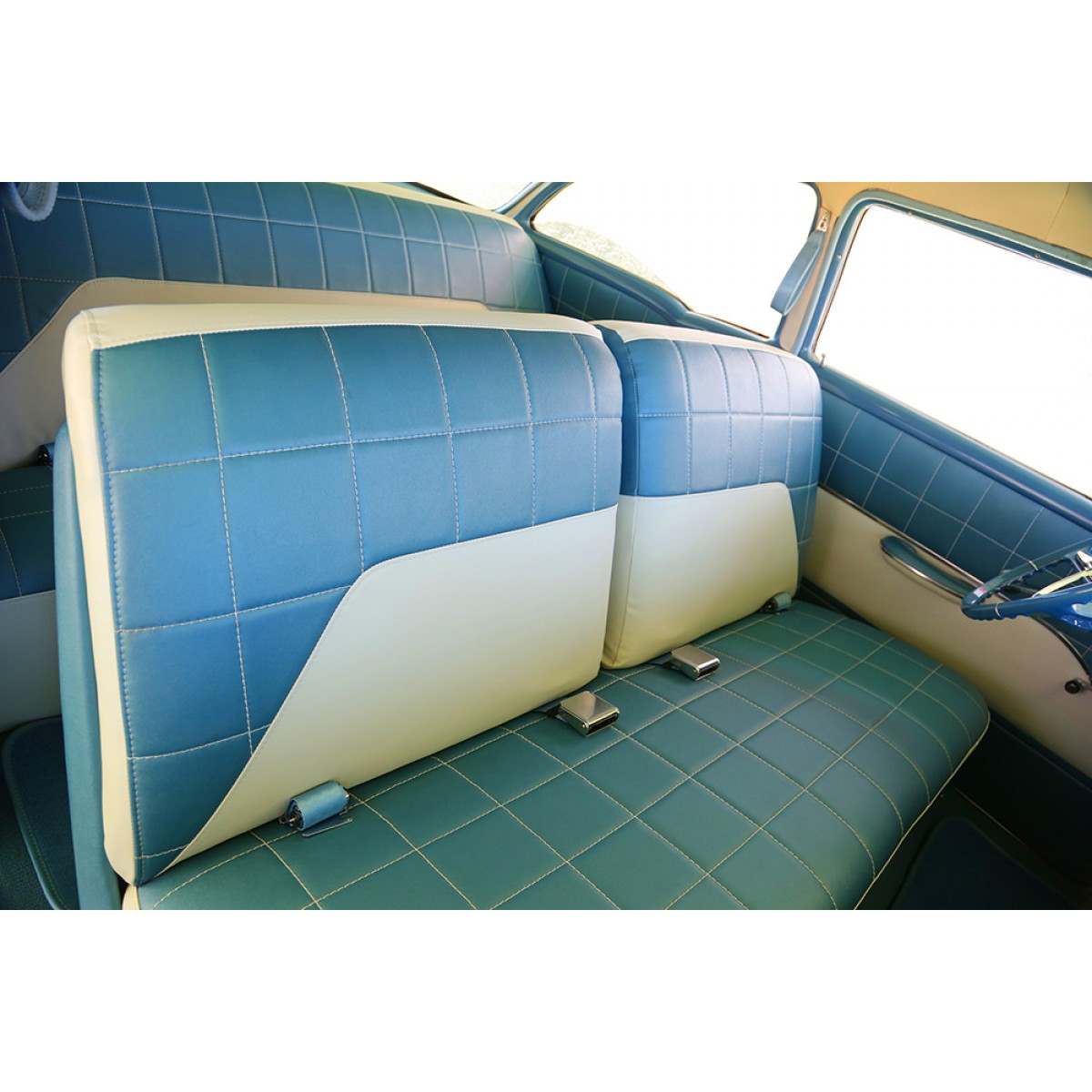 1955 210 Delray Seat Cover Sets Beige And Blue